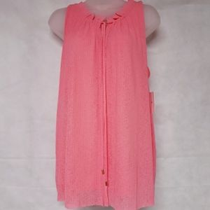 Ellen Tracy Grapefruit Tie Neck Blouse NWT